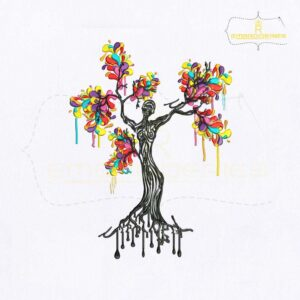 Artistic Women Tree Embroidery Design