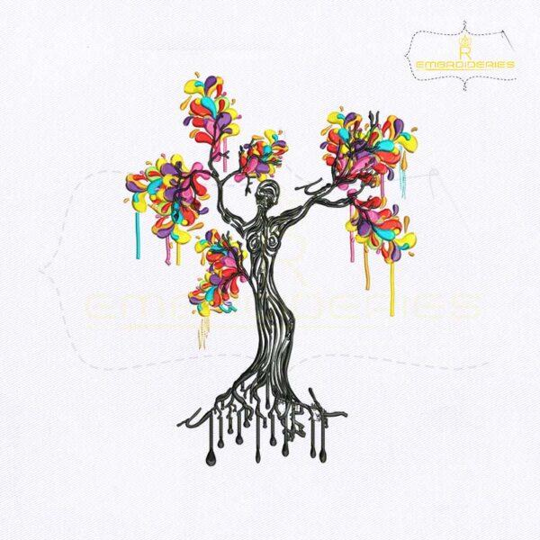 Artistic Women Tree Embroidery Design