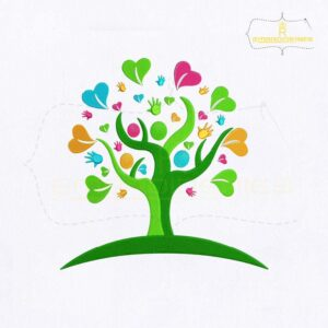 Heart Hands Tree Embroidery Design