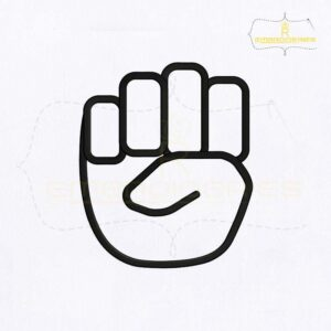 Deaf And Dumb Sign E Embroidery Design