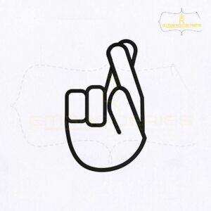 Alphabet Sign Language R Embroidery Design