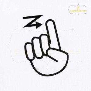 Deaf Sign Language Alphabet Z Embroidery Design