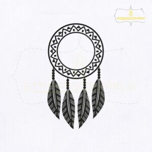 Dangling Feathers Dream Catcher Embroidery Design