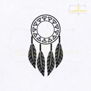 Silhouette Dangling Dream Catcher Embroidery Design