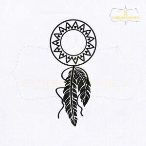 Circle Monogram Dream Catcher Embroidery Design