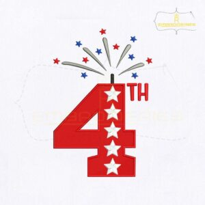 American 4th of July Embroidery Design