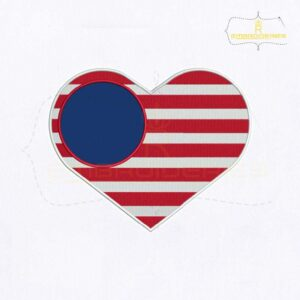 4th Of July USA Flag Heart Embroidery Design