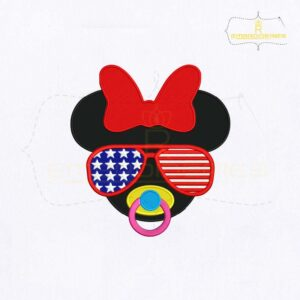 Sunglasses Minnie Mouse Embroidery Design