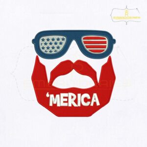 USA Merica Bearded Man Embroidery Design