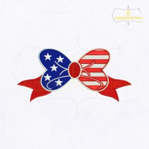 America's Independence Day Bow Embroidery Design