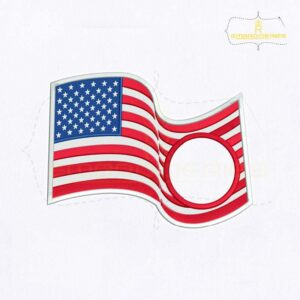 American Flag Monogram Embroidery Design