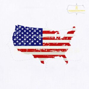 American Flag Map Embroidery Design