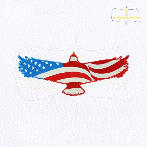 Flying American Eagle Flag Embroidery Design