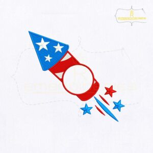 USA Firecracker Monogram Embroidery Design