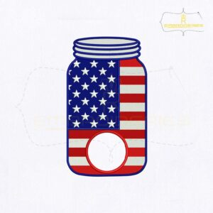 USA Mason Jar Monogram Embroidery Design