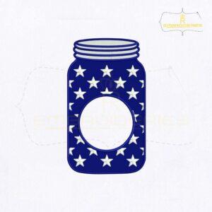 American Mason Jar Monogram Embroidery Design