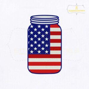 American Flag Mason Jar Embroidery Design