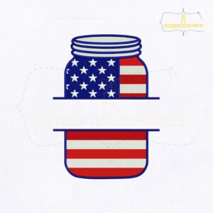 4th of July Mason Jar Monogram Embroidery Design