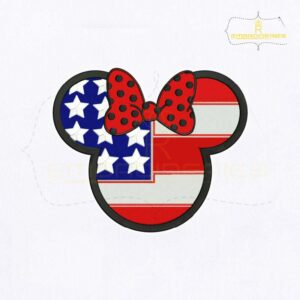4th Of July USA Flag Minnie Face Embroidery Design