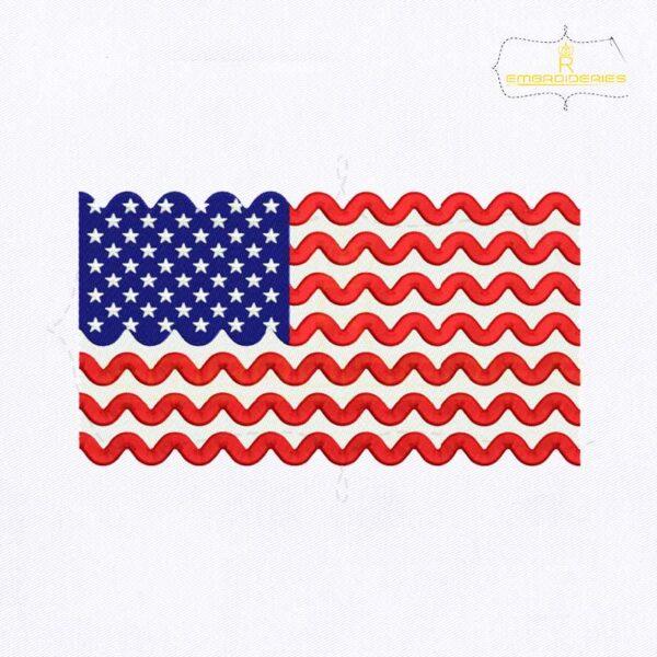 Chevron Stripe USA Flag Embroidery Design