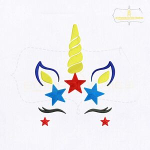 4th Of July Unicorn Embroidery Design