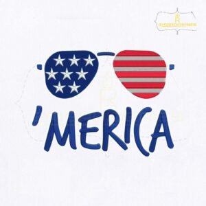 Fourth Of July Merica Glasses Embroidery Design