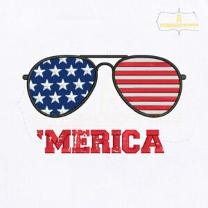 4th of July Merica Sunglasses Embroidery Design