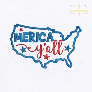4th Of July Merica Y'all Map Embroidery Design