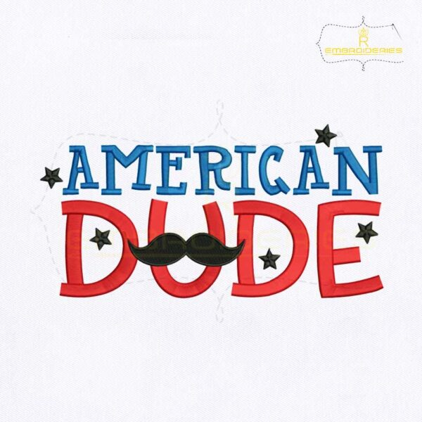 4th Of July American Dude Embroidery Design