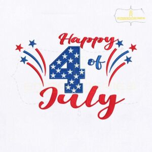 Happy 4th Of July Machine Embroidery Design