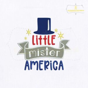 Little Mister America Hat Embroidery Design