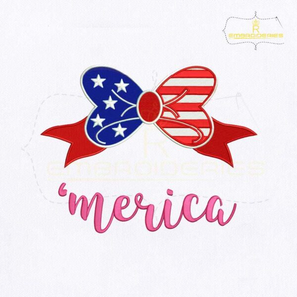 4th of July Merica Bow Embroidery Design