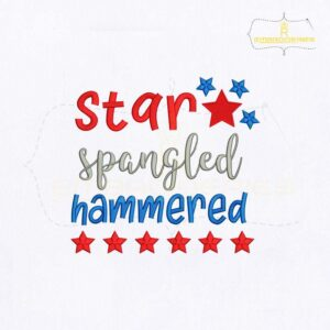 USA Star Spangled Hammered Embroidery Design