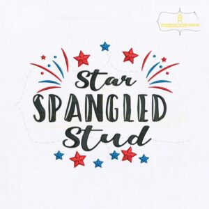 American Star Spangled Stud Embroidery Design