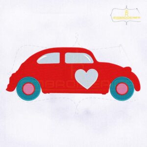 Red Valentines Day Car Embroidery Design
