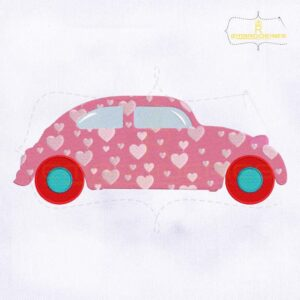 Pink Car Heart Pattern Valentine Embroidery Design