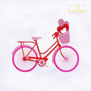 Valentine Love Pink Cycle Embroidery Design