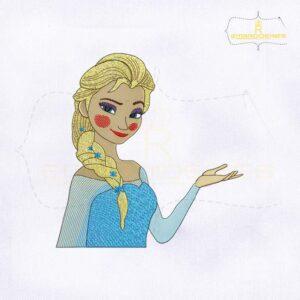 Beautiful And Gorgeous Princess Elsa Machine Embroidery Design