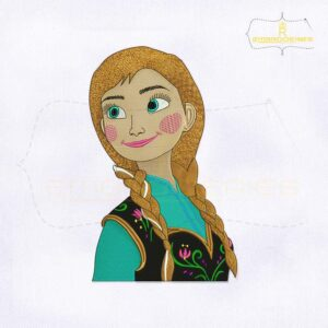Beautiful And Lovely Princess Anna Digital Embroidery Design