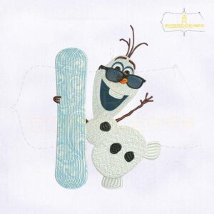 Frozen Olaf Snowboard Embroidery Design