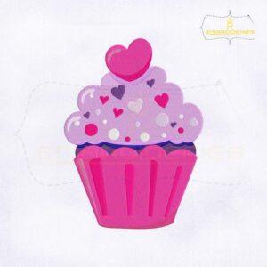Valentine's Day Sweet Cupcake Ice Cream Embroidery Design