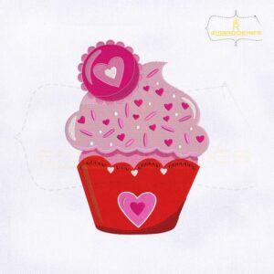 Love Heart Ice Cream Cupcake Embroidery Design