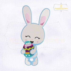 Easter Bunny Holding Egg Embroidery Design