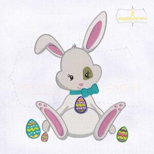 Cute Miss Bunny Playing Egg Embroidery Design