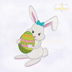 Holding Easter Egg Miss Bunny Embroidery Design