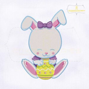 Baby Bunny Holding Egg Machine Embroidery Design