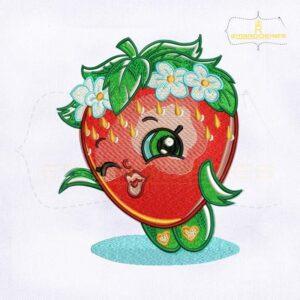 Cute Shopkins Strawberry Kiss Embroidery Design