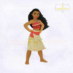 Lovely And Caring Princess Moana Embroidery Design
