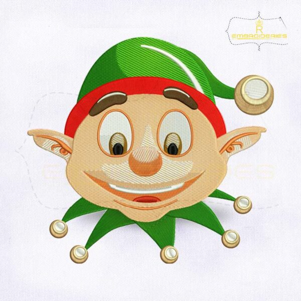 Christmas Elf Face Embroidery Design