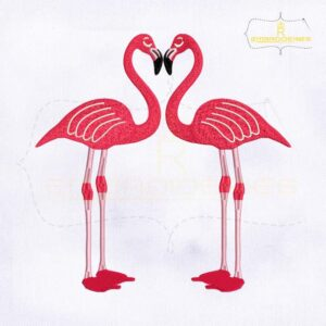 Lovely Pair Of Flamingo Embroidery Design